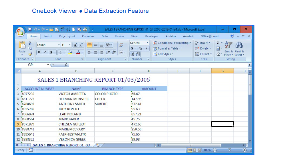 OneLook Data Extraction